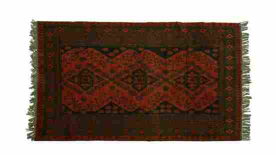 RED-BLACK TRIBAL RUG WITH PERSIAN-INSPIRED PATTERN