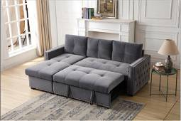 STUDDED GREY L-SHAPED SLEEPER SECTIONAL
