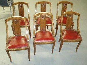 8: Set Six French Art Deco Gondola Chairs