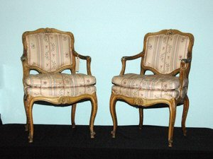 9: Pair Louis XV Style Fauteuil