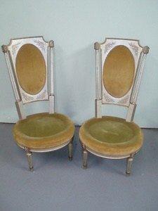 10: Pair Louis XVI Silver GIlt Ladies Chairs