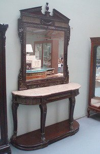11: Marble Top Console w/Neo Classical Mirror