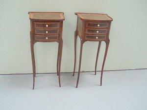 17: Pair Louis XVI Style Tables en Chiffonieres