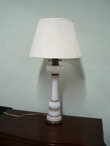 23: French Opaline Lamp with Shade