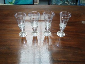 9: 4 Sterling Etched Crystal Sherry Glasses