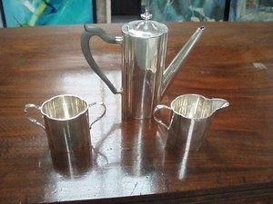 16: Georg Jensen Sterling Coffee Pot, Sugar ' Creamer