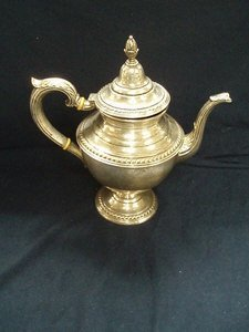 17: Rogers Sterling Silver Teapot w/Ivory Detail