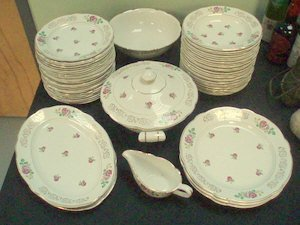 "279: French Pottery Luneville ""Roses"" 56 Pieces"