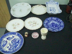 281: Mixed Pottery Lot Limoges, Flow Blue 10 Pcs