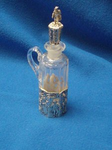 12: Crystal Cruet w/Figural Stopper and Sterling Overla