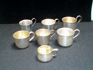 17: 7 Sterling Silver Baby Cups - Stowell, Webster