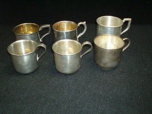 19: 6 Sterling Silver Baby Cups - No Monograms