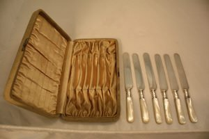 403: 6 Sterling Mother of Pearl Knives