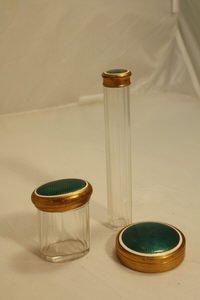 411: 3 Guilloche Enamel Crystal Vanity Dresser Boxes
