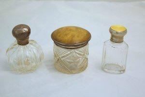 412: 3 Sterling Dresser Vanity Perfume Enamel Guilloche