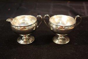 413: Sterling Silver Sugar Bowl and  Creamer