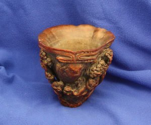 503: Chinese Bamboo Carved Wooden Drinking Bowl