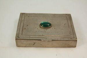 408A: Portuguese Silver Box w/Blue-Green Cabochon