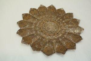 414A: Sterling Silver Filigree Floral Trivet