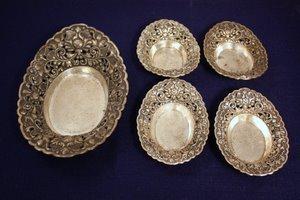 4: Reticulated Sterling Silver Nut Dish Set Yogya