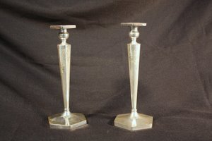 7: Etched Sterling Silver Candlesticks
