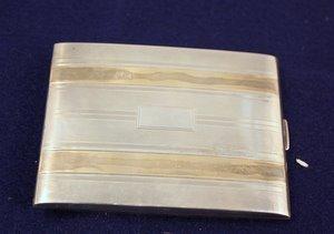 12: Sterling Silver & 14kt Gold Cigarette Case