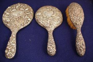13: Art Nouveau Repousse Sterling Silver Vanity Items
