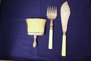 18: Ivory Silver Fish Knife & Fork + Sterling Brush