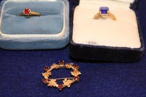 22: Early 20thC 14kt Jewelry w/Glass Stones