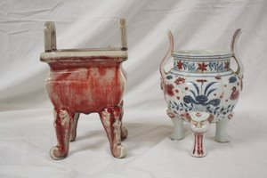 146: 2 Chinese Pottery Censers Incense Burners