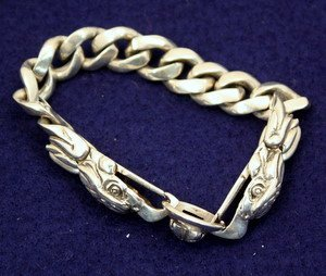 6: Men's Sterling Silver Link Bracelet with Eagles