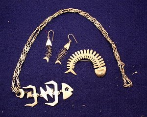 9: Taxco Mexican Sterling Fish Pin, Necklace & Earrings