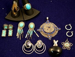 13: Sterling Lot: Turquoise & Lapis