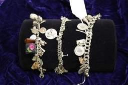 20: 3 Sterling Charm Bracelets - Mostly Silver Charms