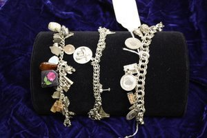 20: 3 Sterling Charm Bracelets - Mostly Silver Charms