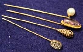 37 Four Victorian Gold Stick Pins