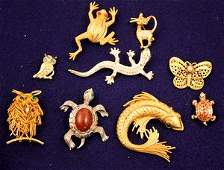 209 Nine Animal  Insect Figural Costume Pins