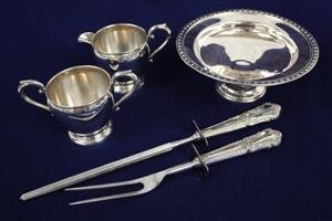 5: Sterling Silver Sugar Creamer Carving Set Compote