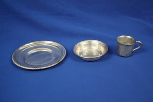13: Sterling Silver Bowl Plate & Child's Cup