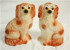 164: Pair Staffordshire Dogs w/Glass Eyes