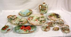 263: Hand Painted Limoges Porcelain 17 Pieces