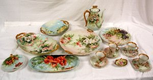 263: Hand Painted Limoges Porcelain 17 Pieces
