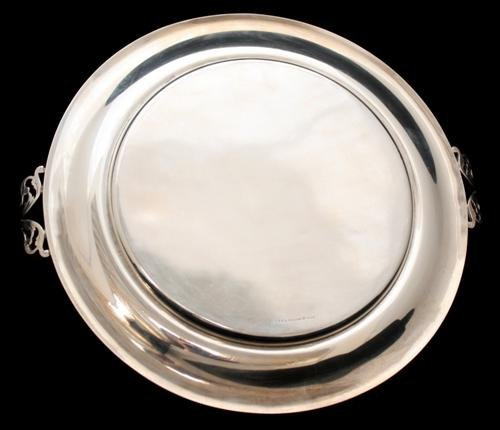 7: J. S. Co. Sterling Silver Tray with Handle - 3