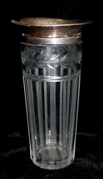 11: Sterling Silver & Etched Crystal Cocktail Shaker