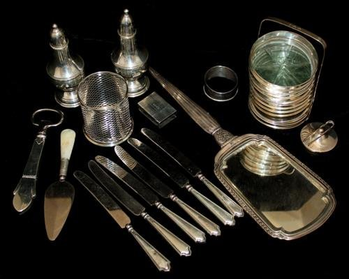 12: Sterling Silver Articles: Master Salt Coasters Etc