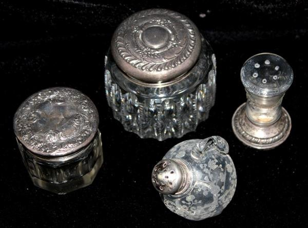 14: 4 Sterling Silver & Crystal Dresser Vanity Jars