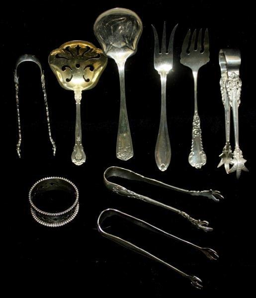 22: Sterling Articles: Sugar Tongs Pierced Spoon