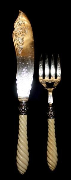 23: English Sterling Silver & Ivory Fish Serving Set