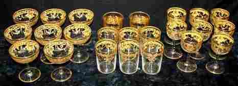 71: 19thC Gilt Decorated Bohemian Crystal Stems