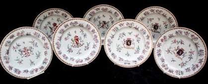 "227: Seven Sampson Lowestoft Armorial 10.5"" Plates"